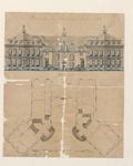 4.21 Tekening van de voorgevel met plattegrond van het kasteel te Boxmeer, gebouwd in 1784, ingekleurd, 1784
